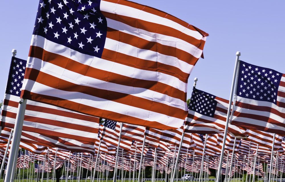 Many American flags flapping in the wind together on a national holiday